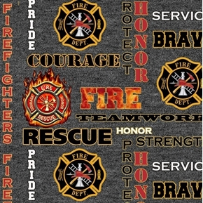 Firefighter Rescue Fire Dept Badge Words Honor Grey Cotton Fabric