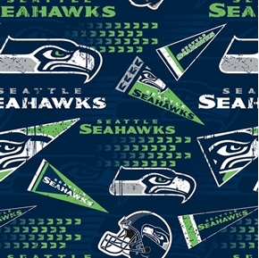 NFL Football Seattle Seahawks Vintage-Look 2018 18x29 Cotton Fabric