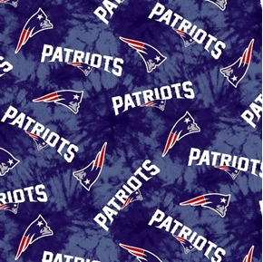 Flannel NFL Football New England Patriots Blue Marbled Cotton Fabric