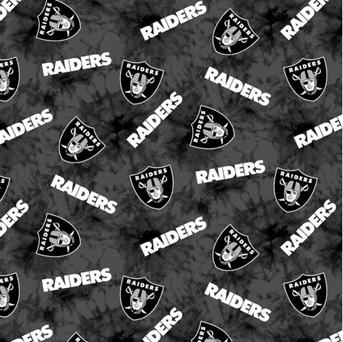 Flannel NFL Football Oakland Raiders Marbled Cotton Fabric