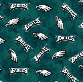 Flannel NFL Football Philadelphia Eagles Marbled Cotton Fabric