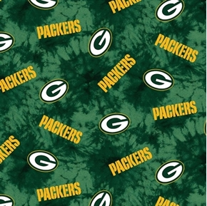 Picture of Flannel NFL Football Green Bay Packers Green Marbled Cotton Fabric