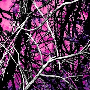 Muddy Girl Camo Purple Camouflage Woods Sticks Cotton Fabric