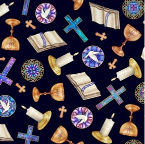 Faith Religious Toss Challis Bible Cross Candle Navy Cotton Fabric