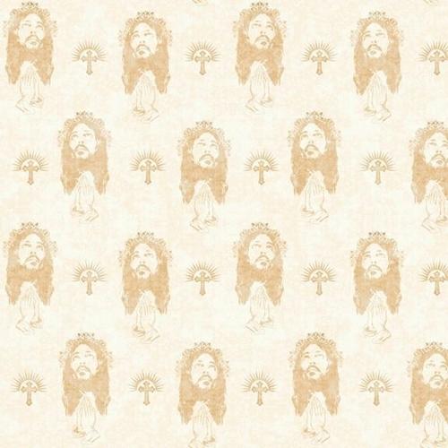Faith Jesus Crown of Thorns Religious Prayer Cream Cotton Fabric