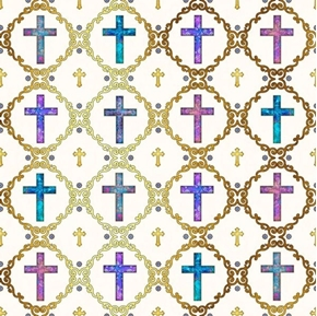 Faith Crosses Religious Purple Aqua Crosses on Cream Cotton Fabric