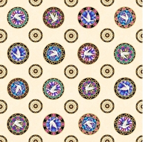 Faith Medallion Toss Religious Dove Medallions on Cream Cotton Fabric