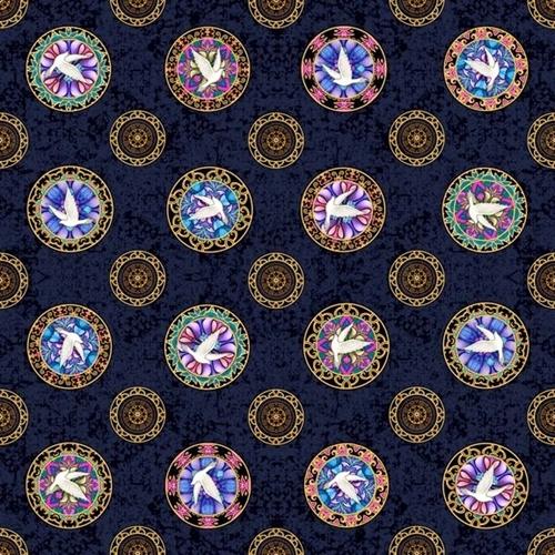 Faith Medallion Toss Religious Dove Medallions on Navy Cotton Fabric
