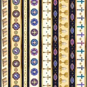 Faith Religious Stripe Bibles Crosses Doves Navy Cream Cotton Fabric