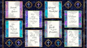 Faith Religious Picture Patches 24x44 Navy Cotton Fabric Panel