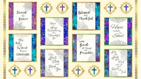 Faith Religious Picture Patches 24x44 Cream Cotton Fabric Panel