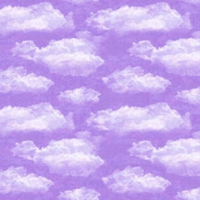 Faith White Puffy Clouds on a Lavender Sky Cotton Fabric