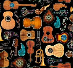 Picture of Fine Tuning Guitars Guitar Parts Music Instruments Black Cotton Fabric