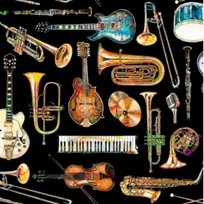 Picture of Fine Tuning Instrument Toss Music Guitar Brass Black Cotton Fabric