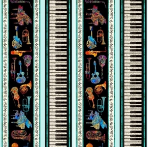 Fine Tuning Instrument Stripe Keyboard Batik Music Aqua Cotton Fabric