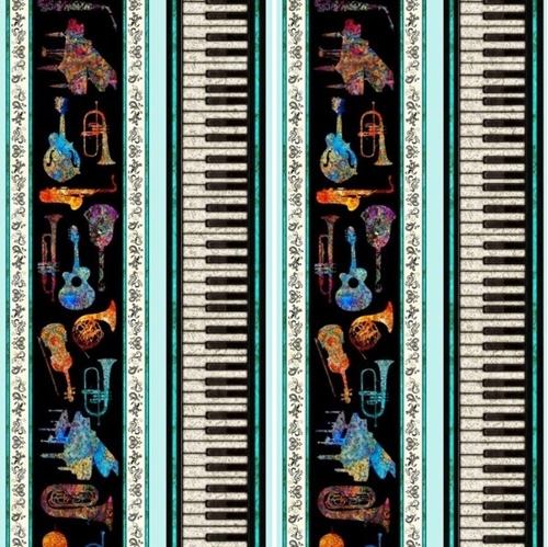 Fine Tuning Instrument Stripe Keyboard Batik Music Aqua Cotton Fabric