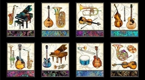Fine Tuning Instrument Picture Panels Music 24x44 Cotton Fabric Panel