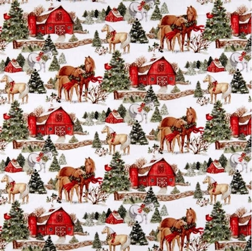 Picture of Two Horse Scenic Holiday Horses and Barns Christmas Cotton Fabric