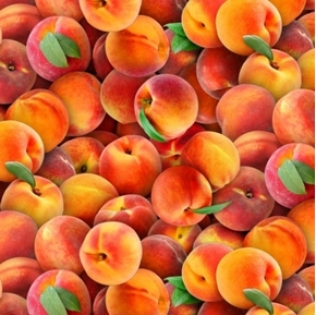Food Festival Peaches Fresh Ripe Peach Cotton Fabric