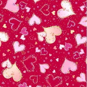 With Love Large Hearts Pink on Red Valentines Day Cotton Fabric