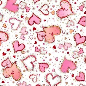 With Love Large Hearts Pink on White Valentines Day Cotton Fabric