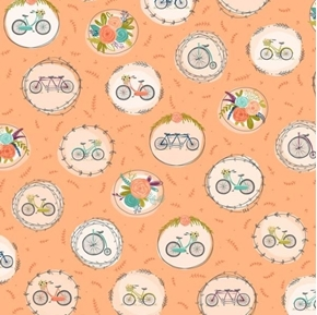 Scenic Route Bike and Floral Medallions Apricot Cotton Fabric