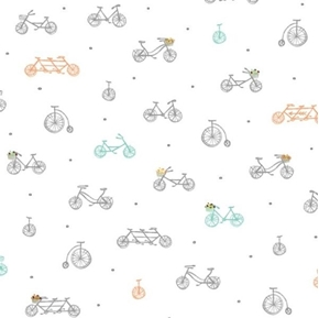 Picture of Scenic Route Bikes Unicycles Bicycle Built for Two White Cotton Fabric