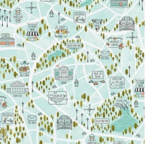 Scenic Route Bike Path Around Town Spring Green Cotton Fabric
