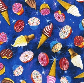 Picture of Donuts Ice Cream Cupcakes Colorful Sweets on Cobalt Blue Cotton Fabric