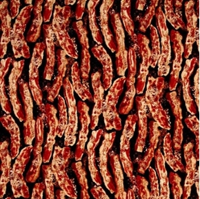 Bacon Cooking Sizzling Breakfast Bacon on Black Cotton Fabric