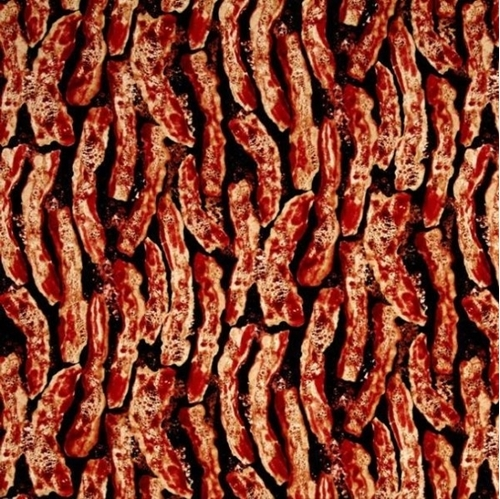 Picture of Bacon Cooking Sizzling Breakfast Bacon on Black Cotton Fabric