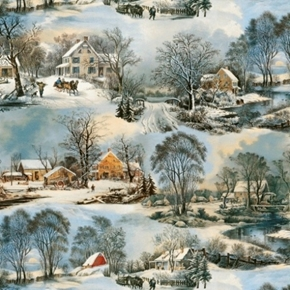 On Frozen Pond Snowy Winter Village Currier and Ives Cotton Fabric