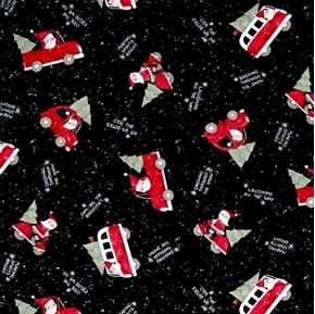 Picture of Santa Making Spirits Bright Christmas Red Truck on Black Cotton Fabric