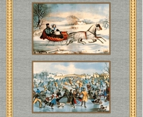 On Frozen Pond Winter Currier and Ives Blocks Cotton Fabric Panel