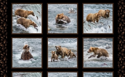 Fishing Bears Bear with Cubs Catching Salmon 24x44 Cotton Fabric Panel