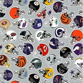 Picture of NFL Football All Team Licensed Logos Grey Digital Cotton Fabric