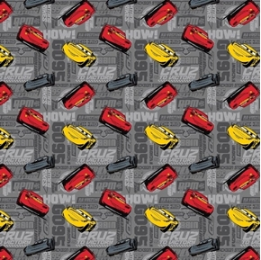 Disney Cars Cruz to Victory Lightning McQueen Dark Grey Cotton Fabric