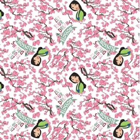 Disney Mulan Dreams Blossom Floral Cherry Blossoms Cotton Fabric