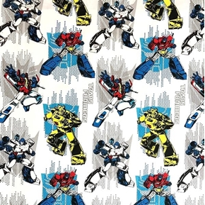 Transformers on Head Bumblebee Optimus Megatron on White Cotton Fabric