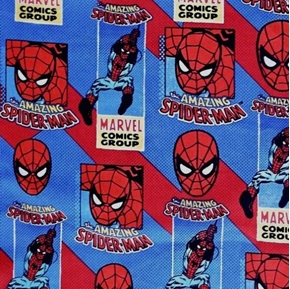 Amazing Spiderman Marvel Comic Group Red and Blue Cotton Fabric