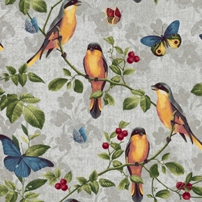 Picture of Walk by Faith Song Birds and Butterflies Grey Cotton Fabric