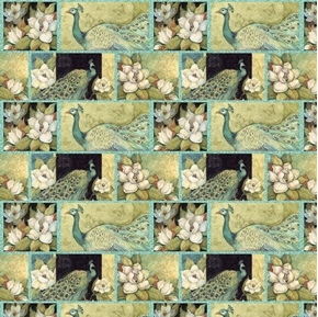 Iridescent Peacock and Magnolia Flower Blocks Cotton Fabric