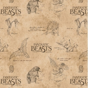 Picture of Wizarding World Fantastic Beasts Logo Creatures Cream Cotton Fabric