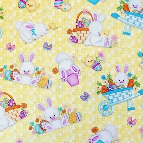 Hop to It Easter Eggs Chicks and Bunnies in Cart Yellow Cotton Fabric
