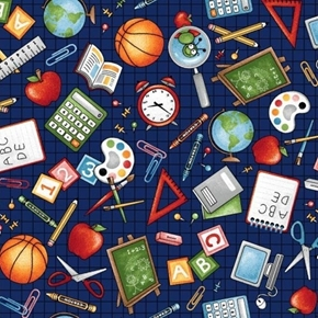 School Zone Computer Crayon Calculator Paint Globe Book Cotton Fabric