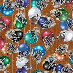 Picture of Gridiron Football Helmets Tossed on Brown Field Grids Cotton Fabric