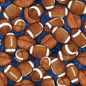 Picture of Gridiron Football Tossed Footballs on Indigo Blue Cotton Fabric