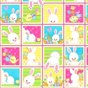 Hop to It Easter Bunny and Chick Patches 24x44 Cotton Fabric Panel