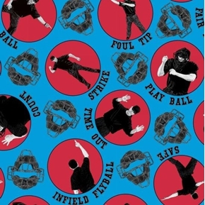 Hit Run Score Baseball Umpire Calls Fair Ball Time Out Cotton Fabric