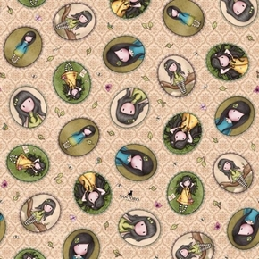 Birds of a Feather Girl Patches Santoro Gorjuss Beige Cotton Fabric